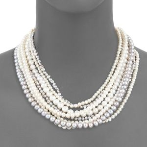 Belpearl Baroque and Round Pearl Multirow Necklace